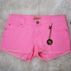 STS Blue Neon Pink Denim Cutoff Shorts
